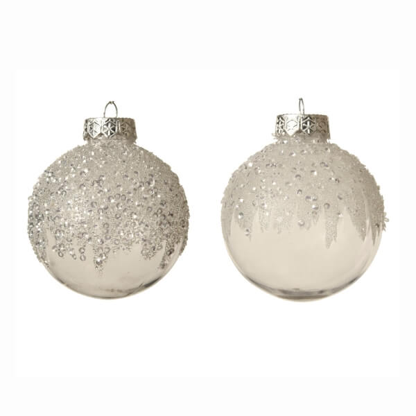 shatterproof beaded ice bauble assorted design clear 8cm pack of 3 christmas