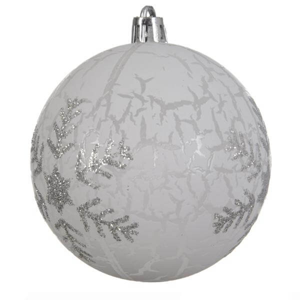 shatterproof frosted snowflake bauble white 8cm christmas