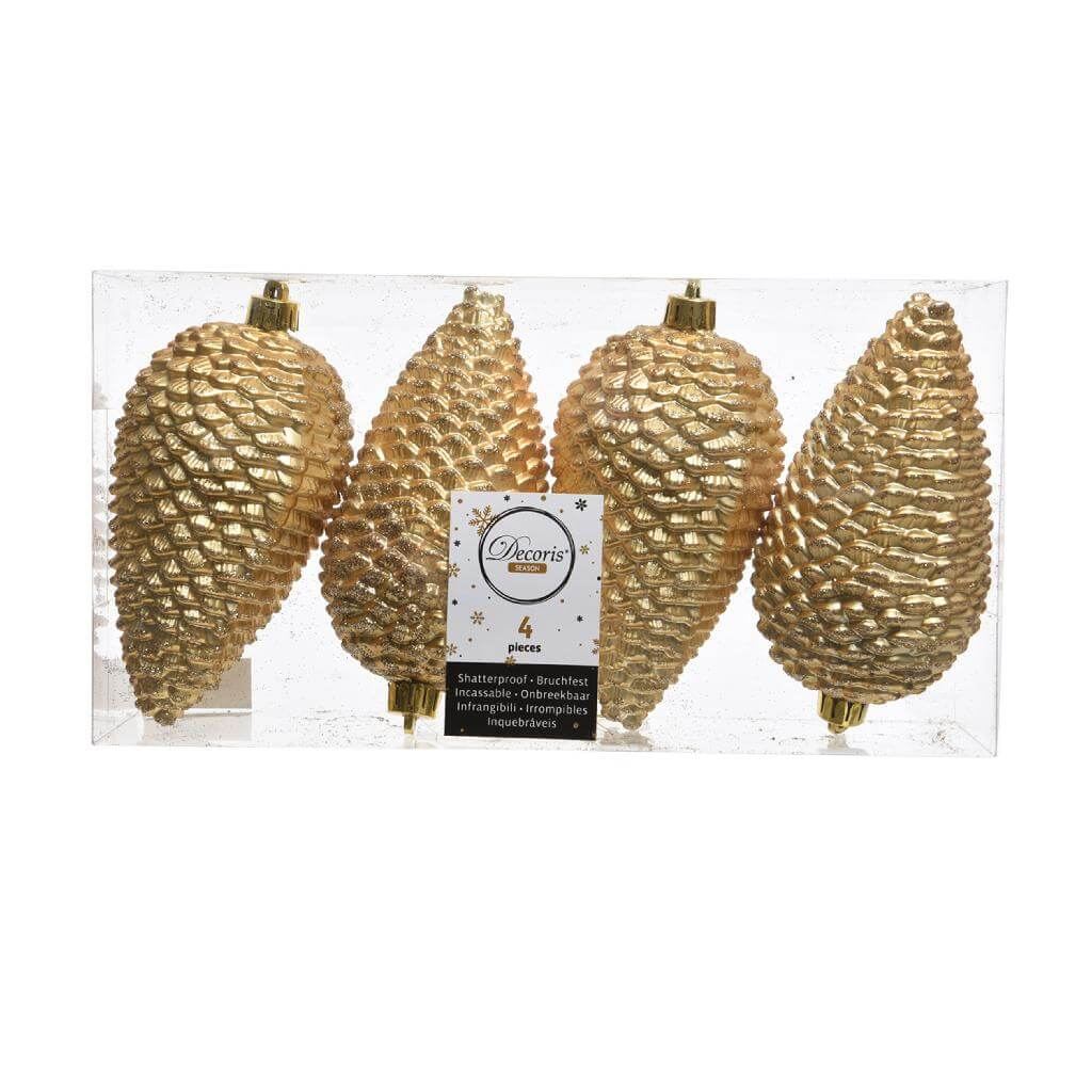 shatterproof light gold pinecone with glitter 12cm pack of 4 christmas tree decoration