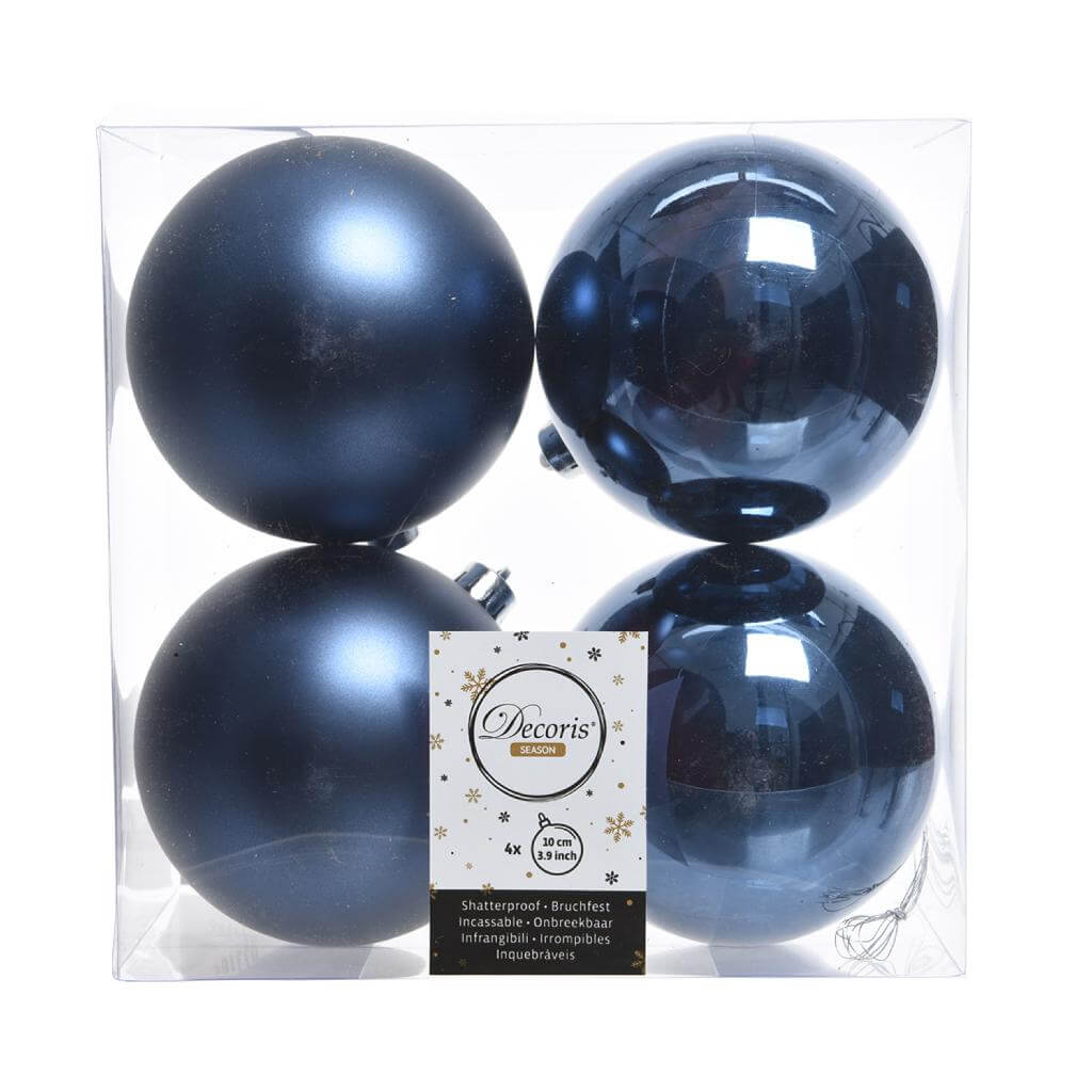 shatterproof night blue bauble 10cm pack of 4 blue christmas theme
