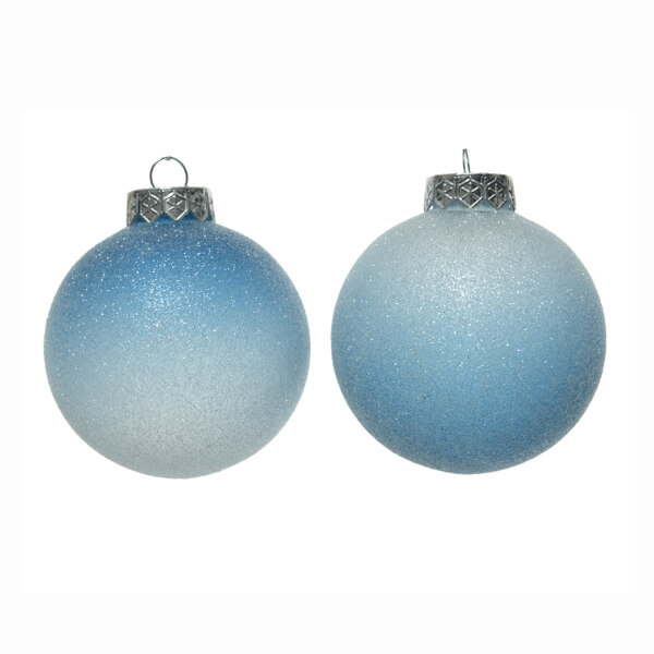 shatterproof ombre bauble assorted design blue stone glitter 8cm christmas