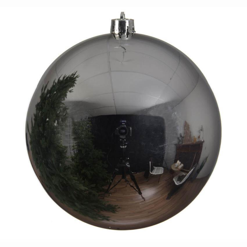 shatterproof silver bauble 20cm christmas