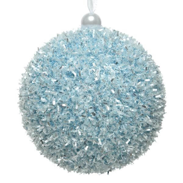 tinsel bauble arctic blue 8cm christmas