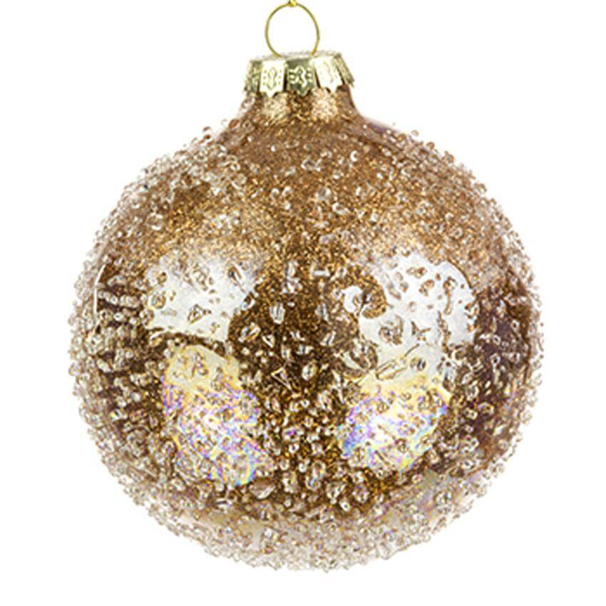 vanna glass bead bauble copper 8cm christmas