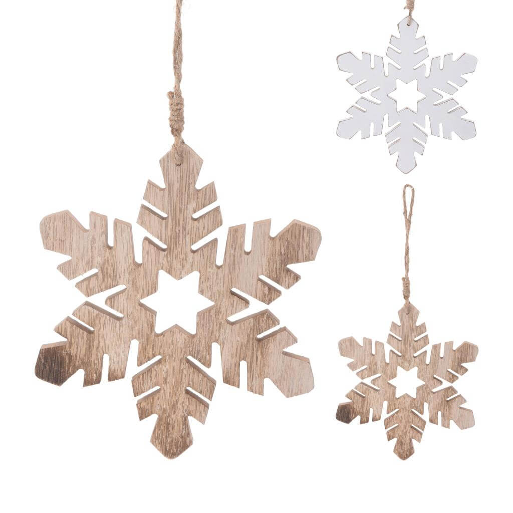 wooden hanging snowflake assorted colour christmas tree decoration