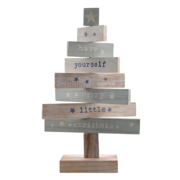 wooden slogan tree blue white 35cm christmas
