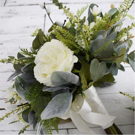 Inspirations Wholesale soft neutrals artificial flower bouquet close up
