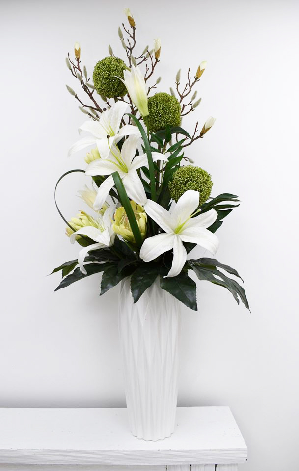 Inspirations Wholesale Artificial Flower Arrangement in white