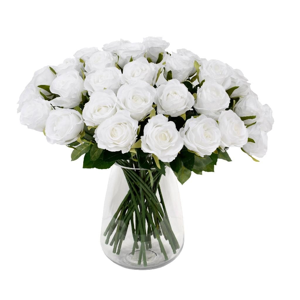 white roses artificial - soft neutral flower trend 2020