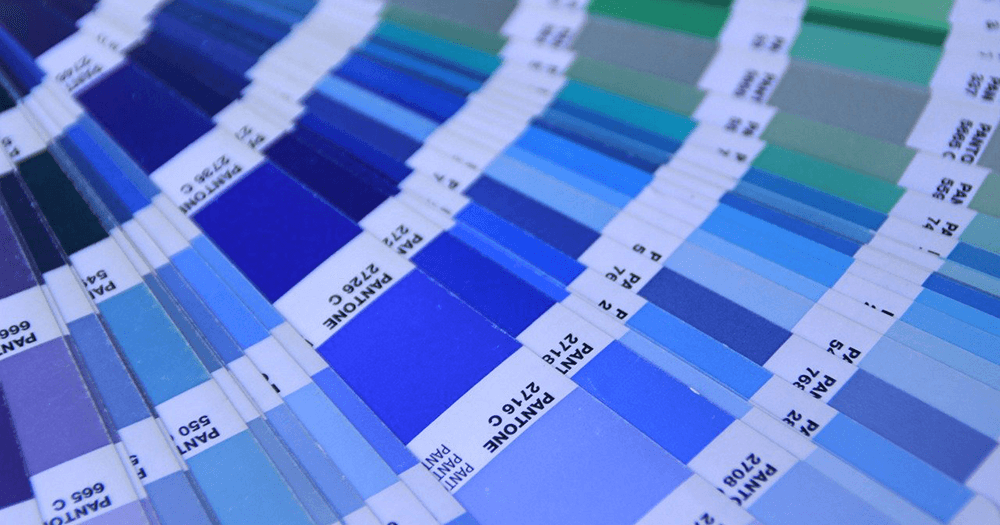 pantone colour of the year swatches in blue