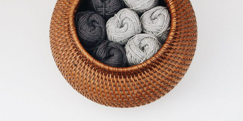 wool stored in a round basket