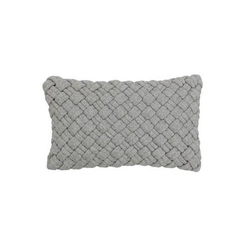 chunky woven grey rectangular cushion