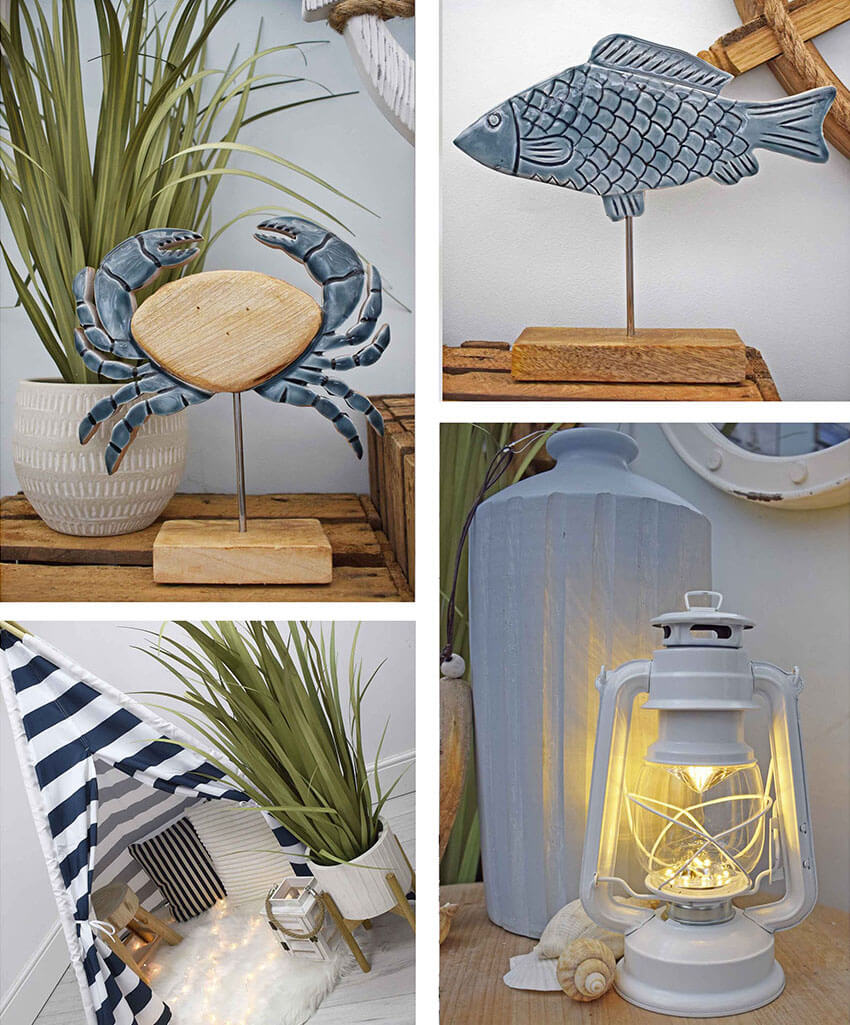 nautical accessories - striped tipi, wooden crab, wooden fish and lantern