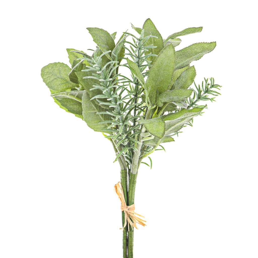 artificial flocked herb bunch with tie