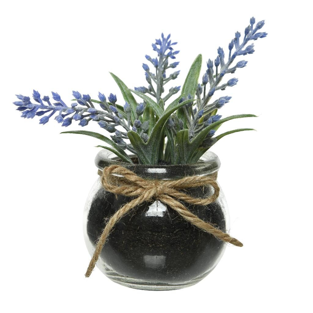 artificial lavender in black pot with rope tie