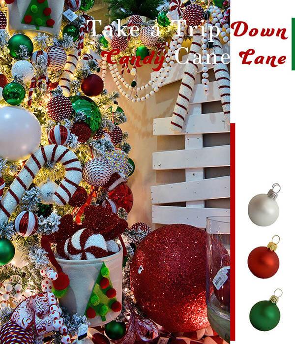 take a trip down candy cane lane - decorations on a christmas tree