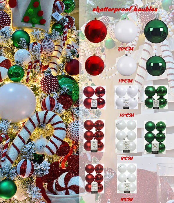 candy cane theme christmas - shatterproof baubles