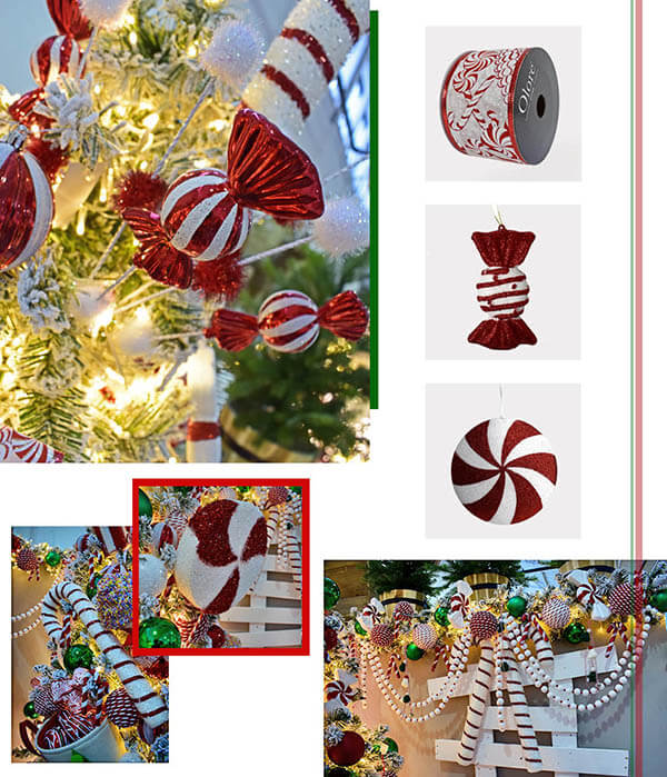 candy cane and sweet Christmas decorations