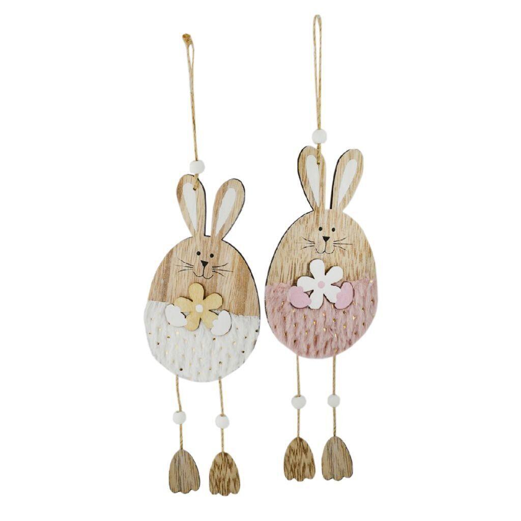 wooden hanging bunnies - easter egg hunt supplies