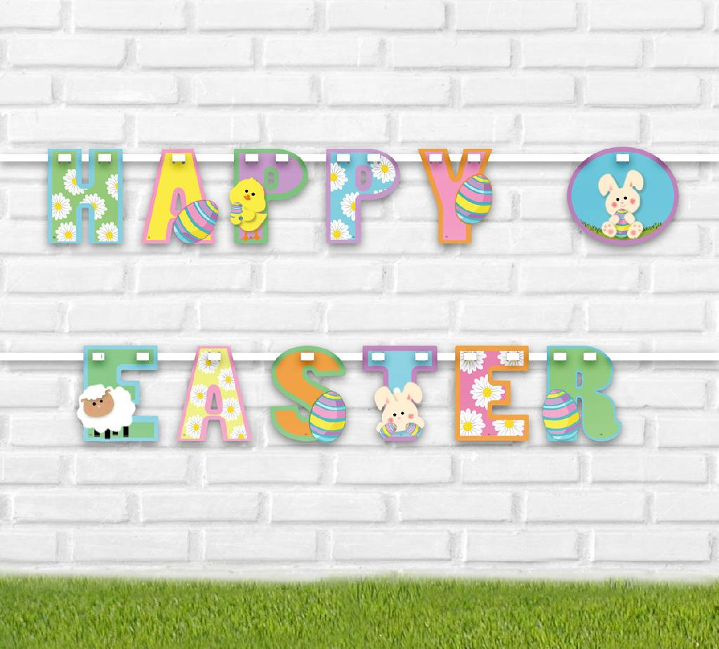 happy easter bunting - easter egg hunt supplies