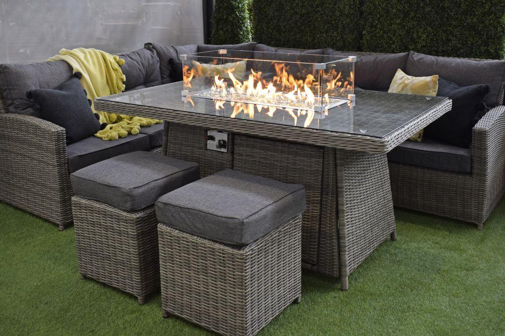 fire pit table garden seating corner sofa set