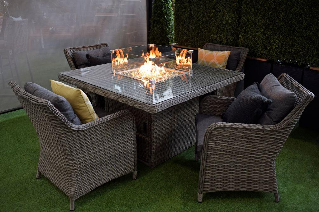 fire pit table garden furniture rattan dining set