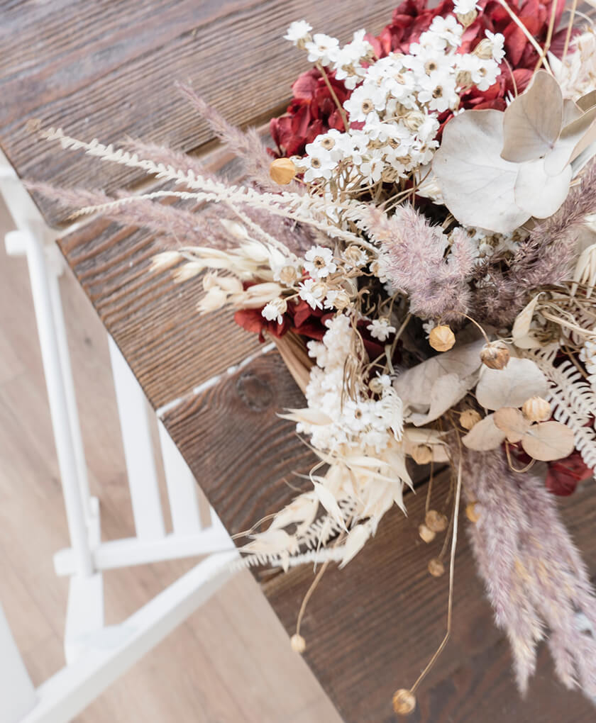 bouquet of dried flowers on table