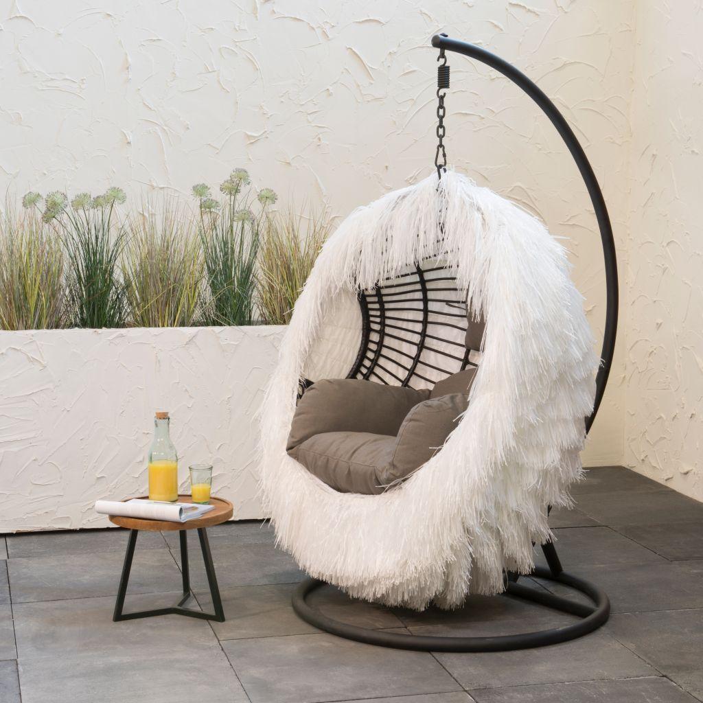 UV outdoor hanging egg chair cover white tassels