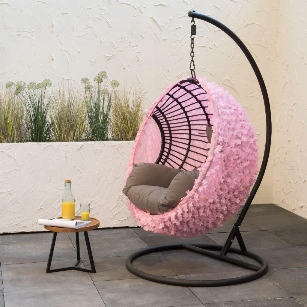 UV outdoor hanging egg chair cover pink flowers