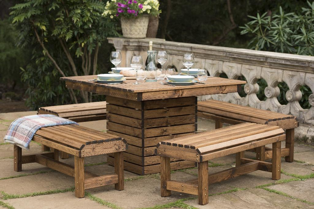 RSPB outdoor wooden dining table and bench set