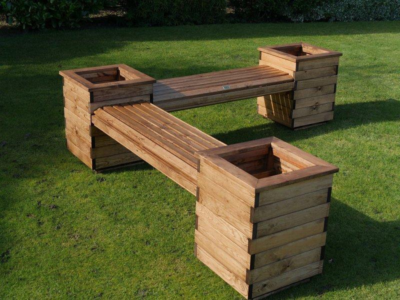 RSPB wooden planter bench garden seating