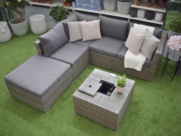 Buena Vista Grey Rattan Outdoor Corner, Grey Rattan Outdoor Furniture Set