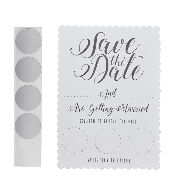 Scratch And Reveal Invitation Save The Date Cards White Pack Of 10 Cards