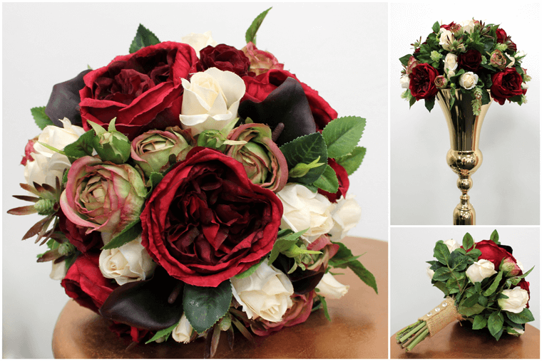 Red Artificial Wedding Flower Arrangements