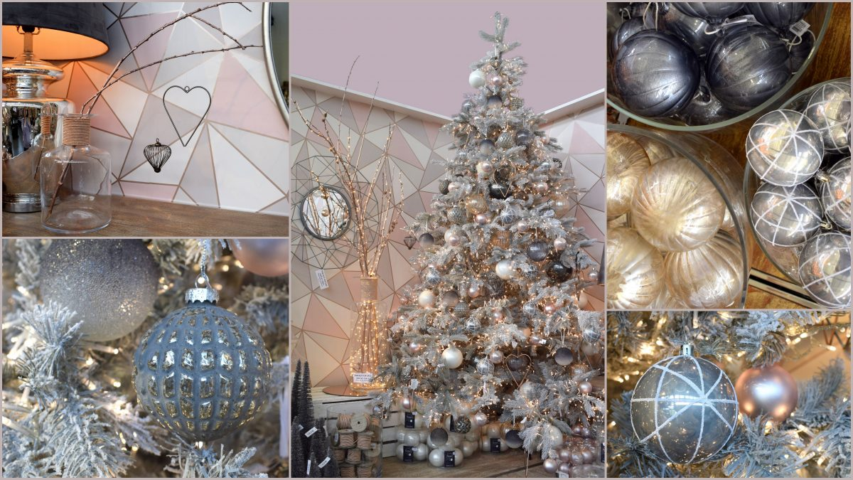 Geometric Christmas decorations on a tree in grey, pink, rose gold and silver